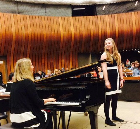 Performing with Julia Goldsby at the United Nations in Geneva, Switzerland, at the NGO Forum on the Status of Women.
