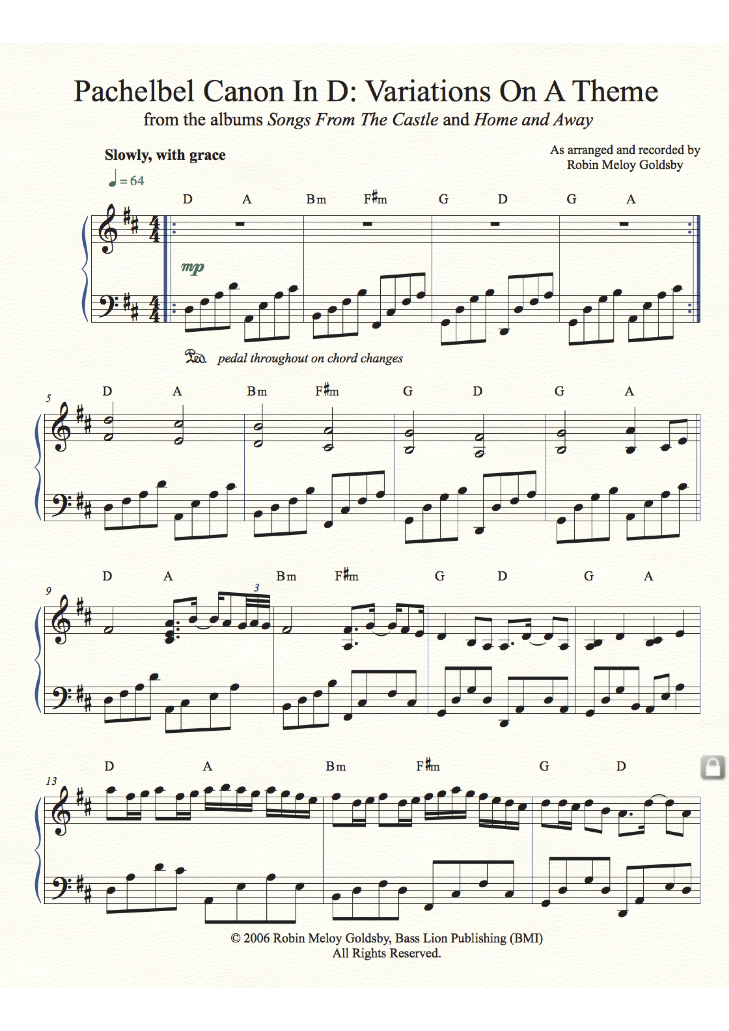Pachelbel Canon In D: Variations On A Theme, arranged by Robin Meloy Goldsby